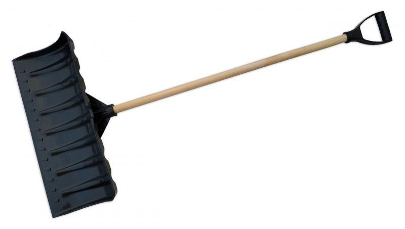 Лопата снегоуборочная пластиковая с черенком широкая (Горизонт)