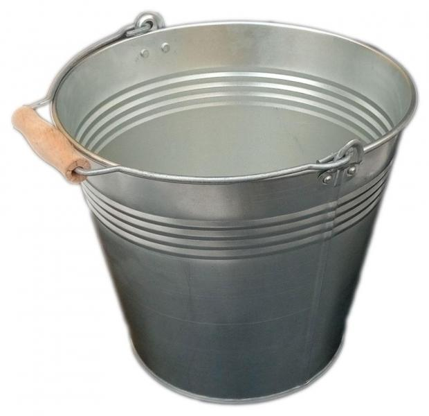 Ведро 12 литров оцинкованное одношовное с деревянной ручкой (Метид, Днепр)