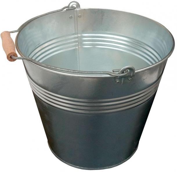 Ведро 15 литров оцинкованное одношовное с деревянной ручкой (Метид, Днепр)