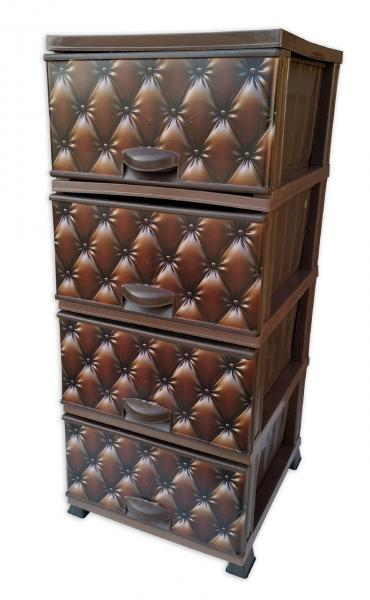 Комод Элиф пластиковый 4 ящика с рисунком Капитон Коричневый (Elif Plastik)