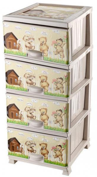 Комод пластиковый 4 ящика с рисунком Мишки (Elif Plastik) (Элиф)