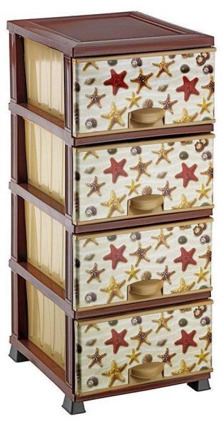 Комод пластиковый 4 ящика с рисунком Морские звёзды (Elif Plastik) (Элиф)