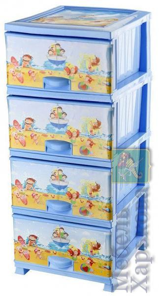 Комод пластиковый 4 ящика с рисунком Пляж (Elif Plastik) (Элиф) - Пластиковые комоды и ящики для хранения в Харькове