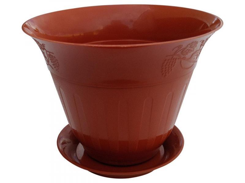 Горшок для цветов Молдавия с подставкой 0,8 л коричневый