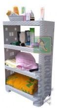 Этажерка пластиковая «Ротанг» на 4 яруса серая (ПолимерАгро, Харьков) - Полки и этажерки для ванных комнат в Харькове