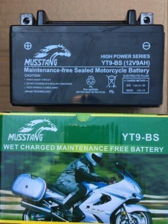 Аккамулятор  YT9-BS 12V/9Ah  пастовый черный 85x95x150 MUSSTANG
