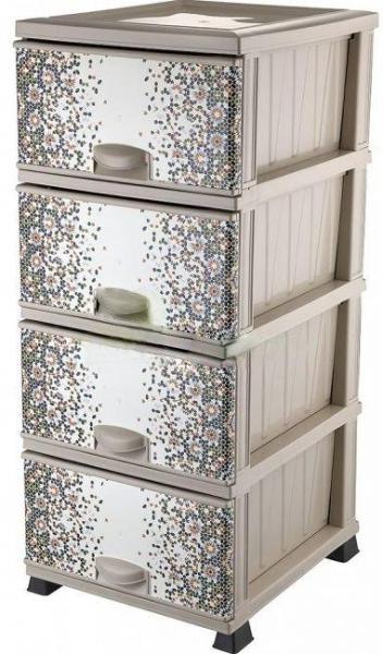 Комод Элиф пластиковый 4 ящика с рисунком Мозаика (Elif Plastik)
