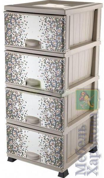 Комод Элиф пластиковый 4 ящика с рисунком Мозаика (Elif Plastik) - Пластиковые комоды и ящики для хранения в Харькове