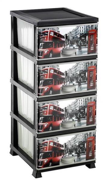 Комод Элиф пластиковый 4 ящика с рисунком Лондон Автобус (Elif Plastik)