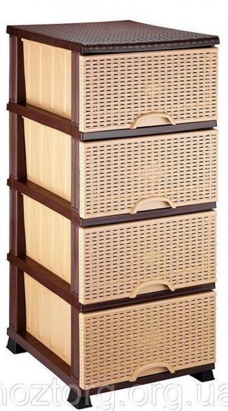 Комод Элиф пластиковый 4 ящика бежевый (Elif Plastik)