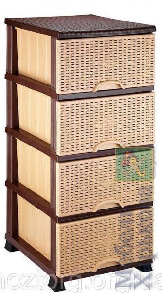 Комод Элиф пластиковый 4 ящика бежевый (Elif Plastik) - Пластиковые комоды и ящики для хранения в Харькове