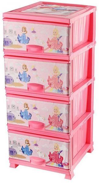 Комод пластиковый 4 ящика с рисунком Принцессы (Elif Plastik) (Элиф)
