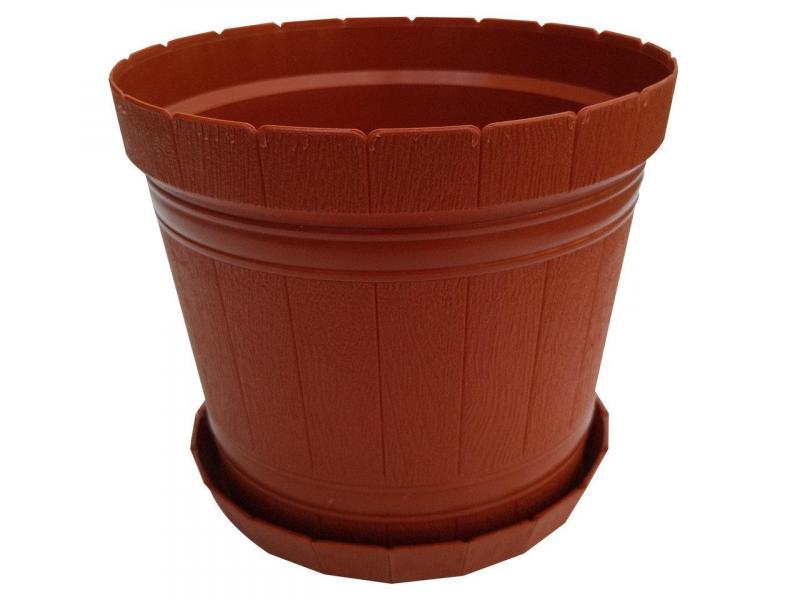 Горшок для цветов Кадушка с подставкой 5л коричневый