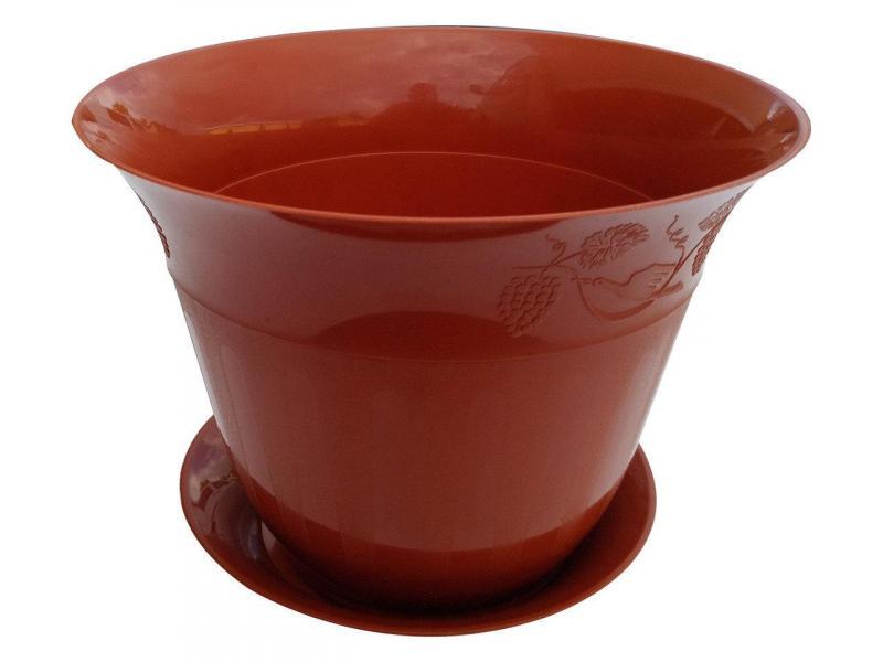 Горшок для цветов Молдавия с подставкой 4 л коричневый
