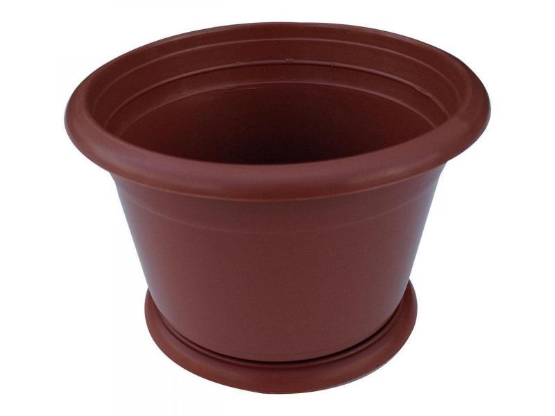 Горшок для цветов Ø 140 мм с подставкой 1 литр коричневый (Юнипласт, Харьков)
