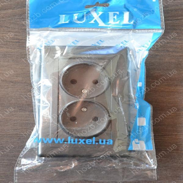 Розетка двойная внутренняя без заземления Luxel Bravo графит 5707
