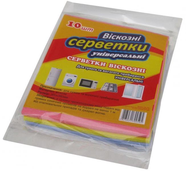 Салфетка для уборки вискозная 30×38 см (уп. 10 шт)