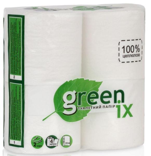 Туалетная бумага белая двухслойная с перфорацией. 100% целлюлоза 20 м в рулоне. В уп. 4 шт (Green ix)