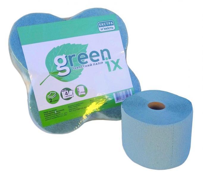 Туалетная бумага зелёная/розовая двухслойная с перфорацией. 30 м в рулоне. В уп. 4 шт (Green ix)