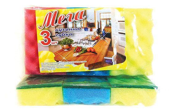Губка для мытья посуды кухонная Vivat «Мега» (115×70×32 мм) 3 шт/уп