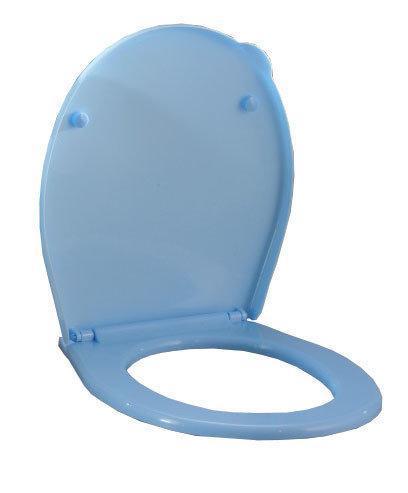 Сиденье для унитаза пластиковое голубое (Горизонт)