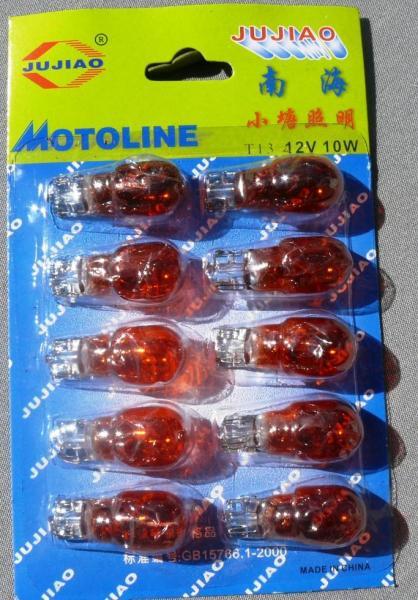 Лампа поворотов Т13 12V10W без цокольная оранжевая