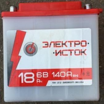 Аккумулятор  6V 18А МОТО  МТ  ИЖ  Электро-исток 140x75x140