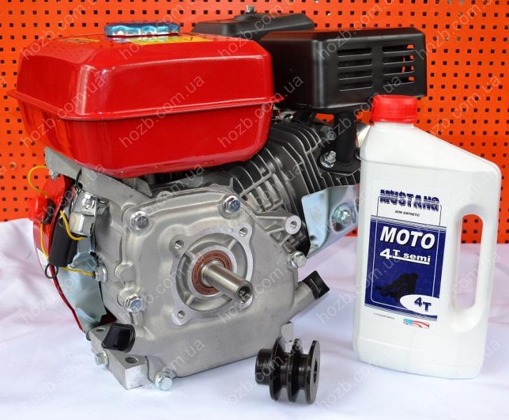 Двигатель бензиновый 168F 7 л.с вал 19 мм шпонка + шкив 2-х ручейковый профиль А + масло