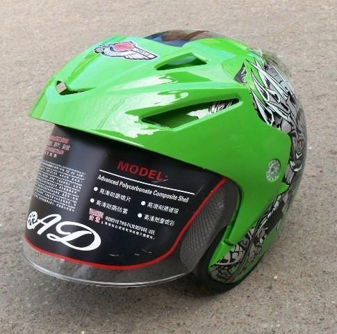 Шлем AD-168 Зеленый с рисунком без бороды
