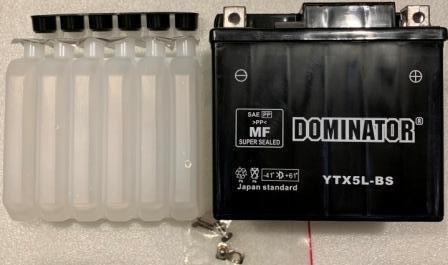Аккамулятор   YTX5L-BS 12V5A DOMINATOR заливной (110x105x67)