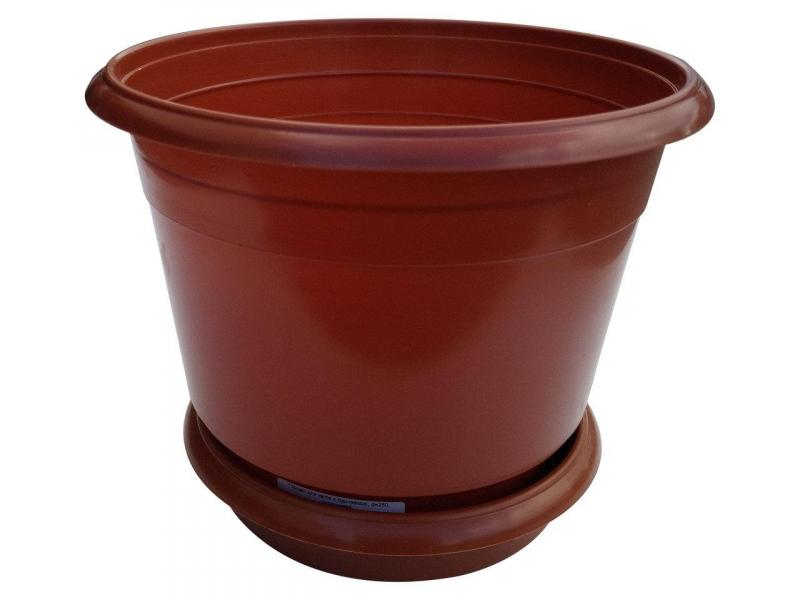 Горшок для цветов Ø 250 мм с подставкой 5,5 литра коричневый (Юнипласт, Харьков)