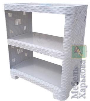 Этажерка пластиковая «Ротанг» на 3 яруса серая (ПолимерАгро, Харьков) - Полки и этажерки для ванных комнат в Харькове