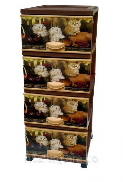 Комод пластиковый 4 ящика с рисунком Котики Elif Plastik (Элиф)