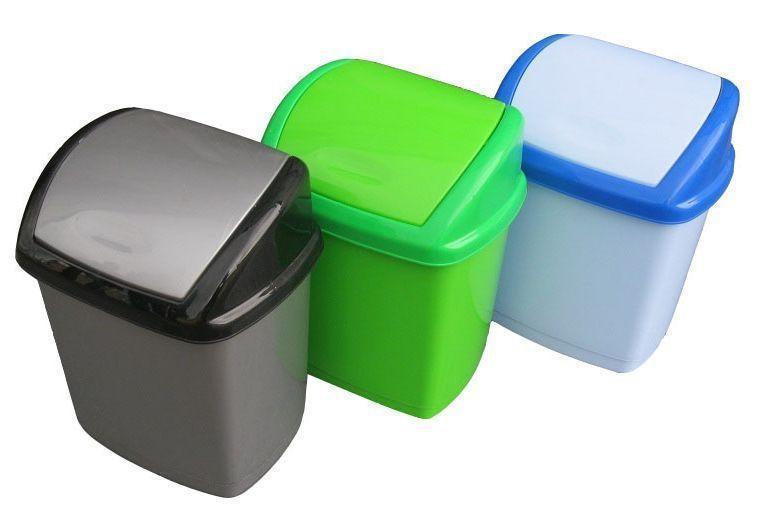 Ведро полипропиленовое для мусора Домик 5 литров Серый  ( металик )  (Горизонт, Харьков)