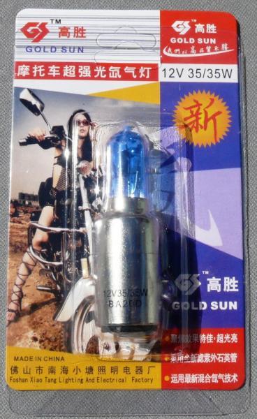 Лампа фары ВА-20D 12V35/35  синяя (блистер)
