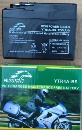 Аккумулятор YTR4A-BS 12V/4Ah широкая таблетка черный 85x49x114 MUSSTANG