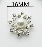 Фото Новинки Металическая серединка 16 мм. Серебряная основа с белой бусиной и белыми хрустальными стразиками.