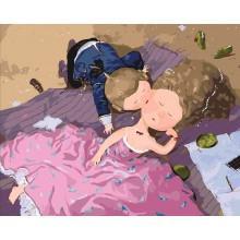 Фото Картины на холсте по номерам, Гапчинская (картины по номерам) KNG033 Поцелуй в щечку Картина по номерам Гапчинская на холсте 40x50см