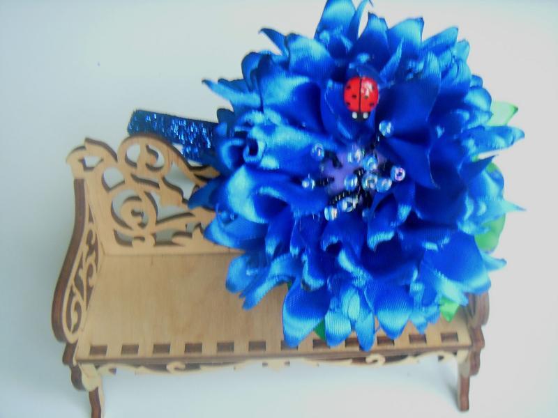 Фото Готовые изделия хенд мейд, Ободки хенд мейд Ободок с цветком волошка из атласа