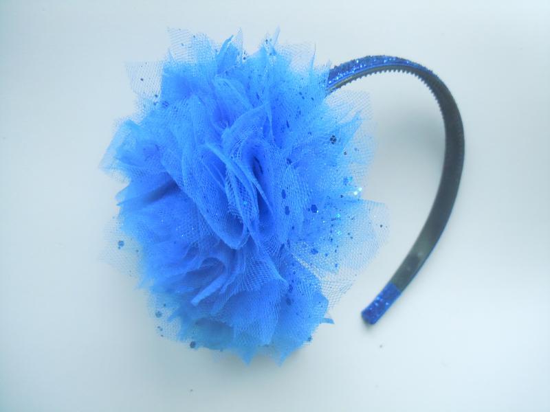 Фото Готовые изделия хенд мейд, Ободки хенд мейд Ообок с синим цветком из фатина с блестками