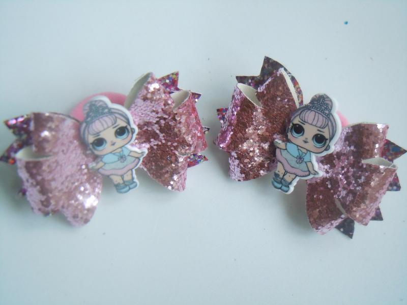 Фото Готовые изделия хенд мейд, Резинки хенд мейд Резинки для волос  розовые  из эко кожи Лол пара