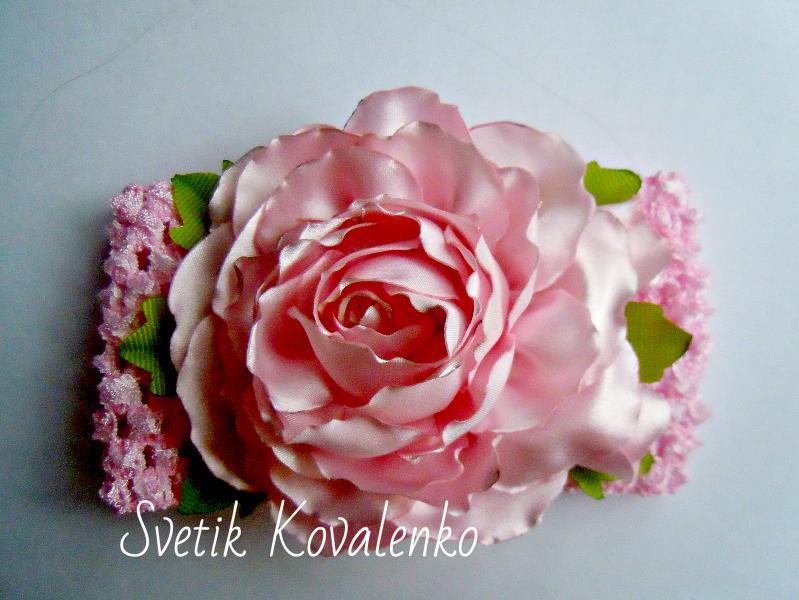 Фото Готовые изделия хенд мейд, Повязки хенд мейд Повязка с розой из атласа