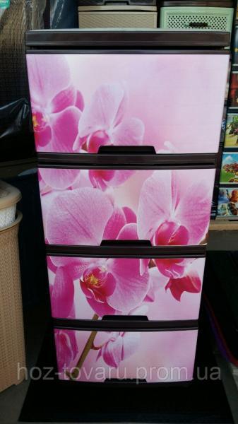 """Комод на 4 ящика с декором """"Орхидея """"  Алеана"""