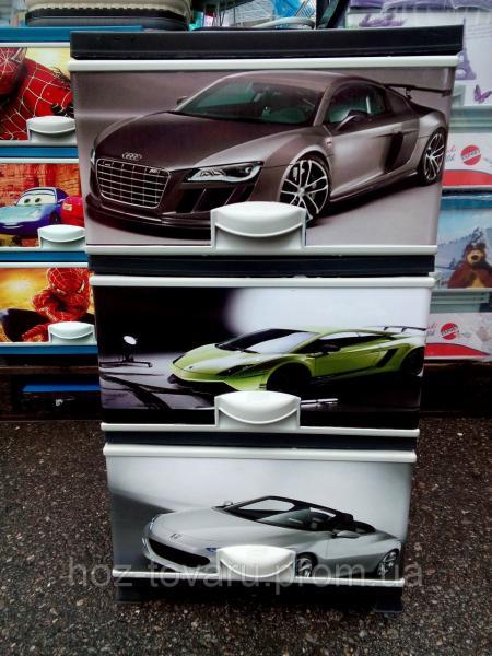 Комод пластиковый элиф Машины(2) на 3 ящика с рисунком на верхней  крышке