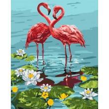 Фото Картины на холсте по номерам, Животные. Птицы. Рыбы... KH 4144 Пара фламинго Картина по номерам на холсте 40х50см