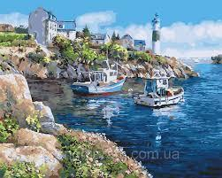 Фото Картины на холсте по номерам, Морской пейзаж KGX 21220 Живописная бухта Картина по номерам на холсте 40х50см