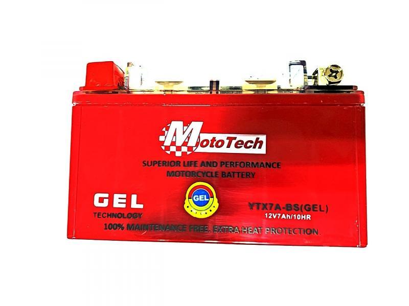 Аккумулятор 12V 7Аh YTX7A-BS 150/85/95 мм (гелевый), Mototech, Тайвань.