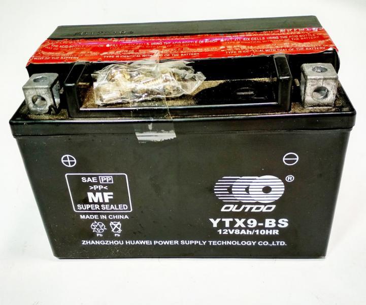 Аккумулятор 12V 9Аh YTX9-BS 150/85/105 мм (заливной), OUTDO, Тайвань.