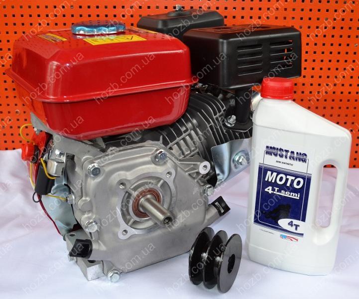 Двигатель бензиновый 168F 7 л.с вал 19 мм шпонка + шкив 2-х ручейковый профиль Б+масло