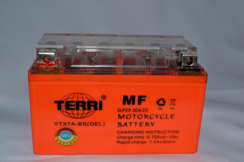 Аккумулятор 12V 7Ah гелевый (150х87х94) YTX7A-BS (оранжевый) TERRI